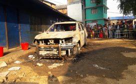 नगरपालिकाको गाडीमा आगजनी