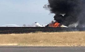 क्यालिफोर्नियामा अर्को विमान दुर्घटना! उडान भर्ने क्रममा यात्रुवाहक विमानमा आगो लाग्यो
